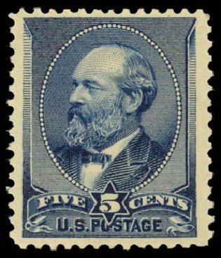 US Stamp Value Scott Cat. # 216: 5c 1883 Garfield. Daniel Kelleher Auctions, Dec 2014, Sale 661, Lot 188