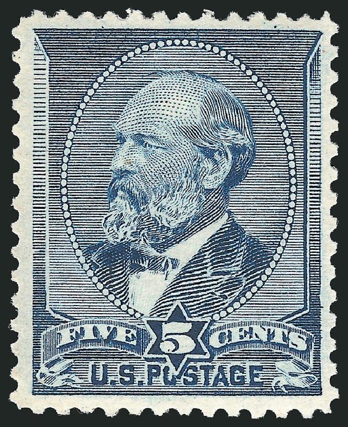 Values of US Stamps Scott #216: 5c 1883 Garfield. Robert Siegel Auction Galleries, Dec 2014, Sale 1090, Lot 1369