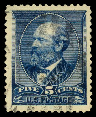Prices of US Stamp Scott #216: 5c 1883 Garfield. Daniel Kelleher Auctions, Aug 2015, Sale 672, Lot 2455