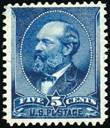 Value of US Stamps Scott Catalogue # 216 - 1883 5c Garfield. Schuyler J. Rumsey Philatelic Auctions, Apr 2015, Sale 60, Lot 2195