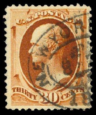 Value of US Stamp Scott Cat. 217 - 1883 30c Hamilton. Daniel Kelleher Auctions, Aug 2015, Sale 672, Lot 2458
