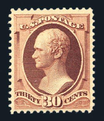 US Stamp Values Scott Catalog 217: 30c 1883 Hamilton. Harmer-Schau Auction Galleries, Aug 2015, Sale 106, Lot 1604