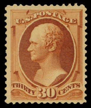 US Stamp Values Scott Cat. 217 - 30c 1883 Hamilton. Daniel Kelleher Auctions, May 2015, Sale 669, Lot 2694