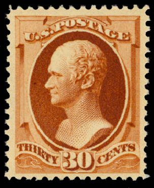 US Stamp Values Scott Catalog #217 - 1883 30c Hamilton. Daniel Kelleher Auctions, May 2015, Sale 669, Lot 2692