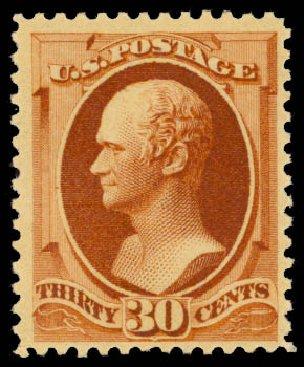 Cost of US Stamps Scott Catalogue # 217 - 30c 1883 Hamilton. Daniel Kelleher Auctions, Aug 2015, Sale 672, Lot 2456