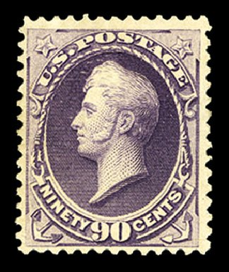 US Stamp Values Scott Catalogue 218: 90c 1883 Perry. Cherrystone Auctions, Jul 2015, Sale 201507, Lot 2078