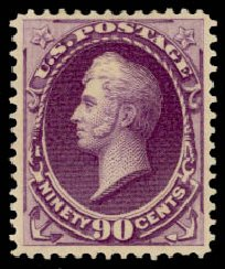 US Stamps Values Scott Cat. # 218 - 1883 90c Perry. Daniel Kelleher Auctions, Aug 2015, Sale 672, Lot 2459