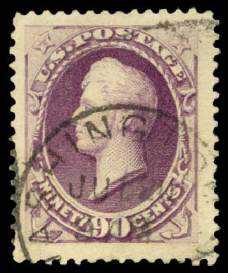 Prices of US Stamps Scott Catalogue # 218 - 90c 1883 Perry. Daniel Kelleher Auctions, Aug 2015, Sale 672, Lot 2460