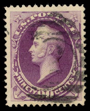 Values of US Stamp Scott Catalog 218 - 90c 1883 Perry. Daniel Kelleher Auctions, Aug 2015, Sale 672, Lot 2461
