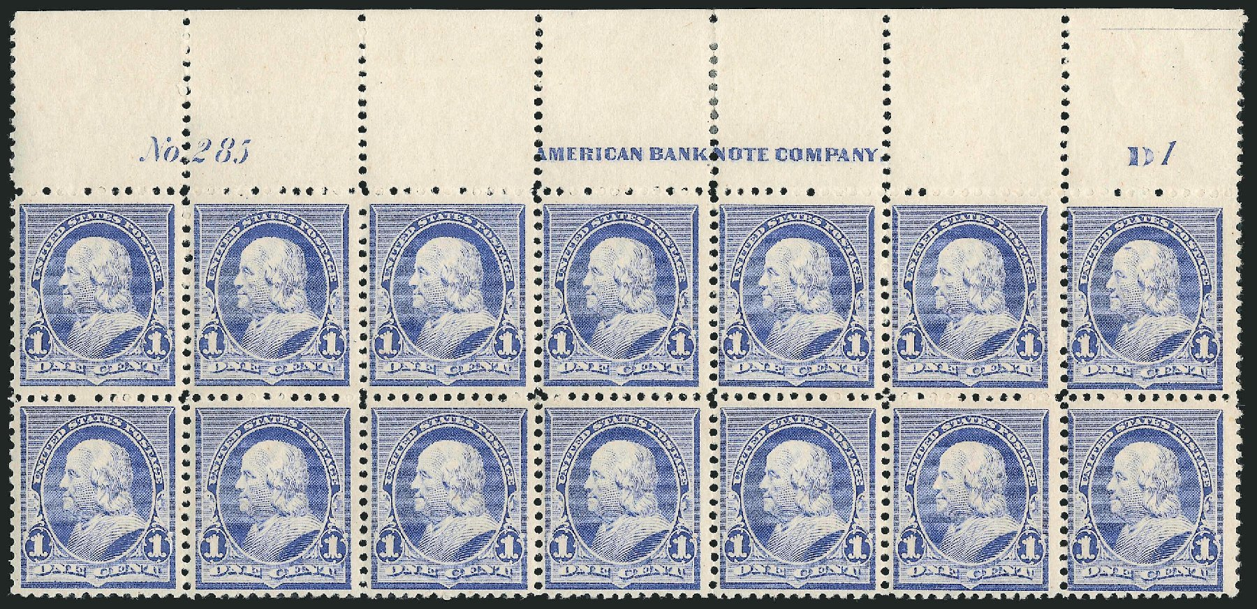 US Stamps Values Scott 219: 1890 1c Franklin. Robert Siegel Auction Galleries, Nov 2014, Sale 1084, Lot 3497