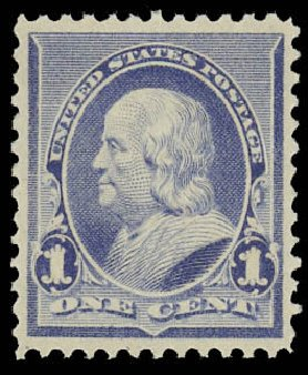 Values of US Stamps Scott Catalogue # 219: 1c 1890 Franklin. Daniel Kelleher Auctions, Oct 2012, Sale 632, Lot 1100