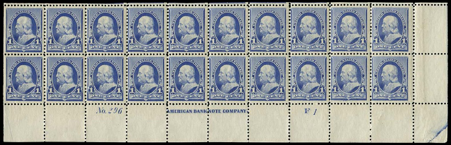 Values of US Stamps Scott Catalog #219 - 1890 1c Franklin. Regency-Superior, Jan 2015, Sale 109, Lot 1600
