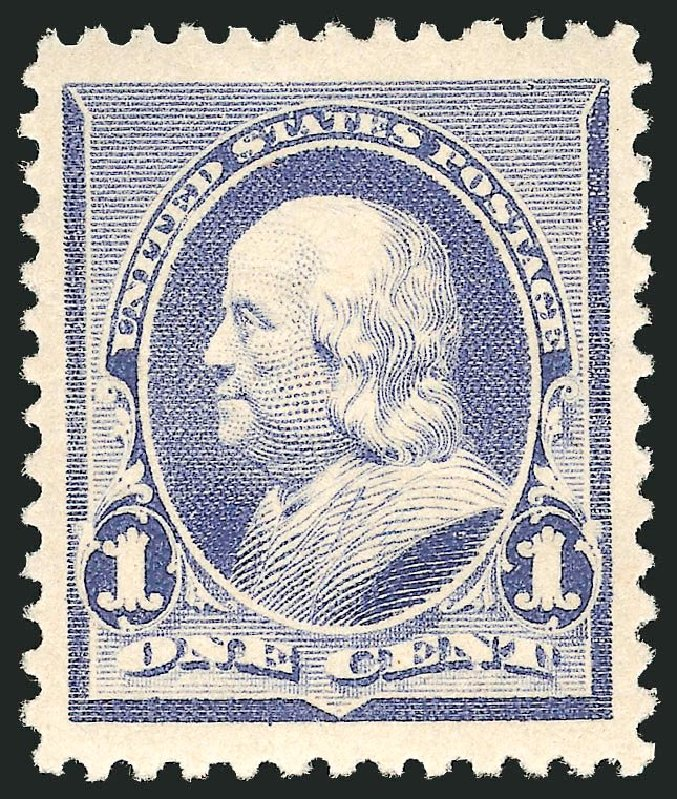 US Stamps Value Scott Catalog # 219 - 1c 1890 Franklin. Robert Siegel Auction Galleries, Apr 2014, Sale 1068, Lot 170