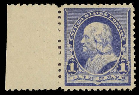 Value of US Stamps Scott Catalogue 219 - 1890 1c Franklin. Daniel Kelleher Auctions, Aug 2012, Sale 631, Lot 881