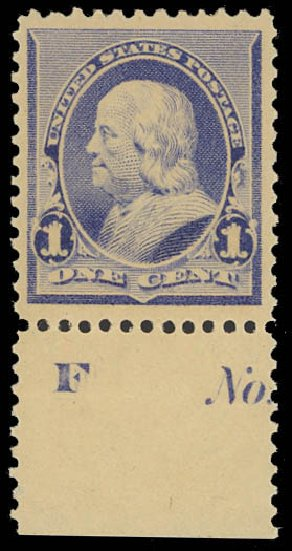 US Stamps Price Scott Cat. 219 - 1890 1c Franklin. Daniel Kelleher Auctions, Oct 2012, Sale 632, Lot 1101