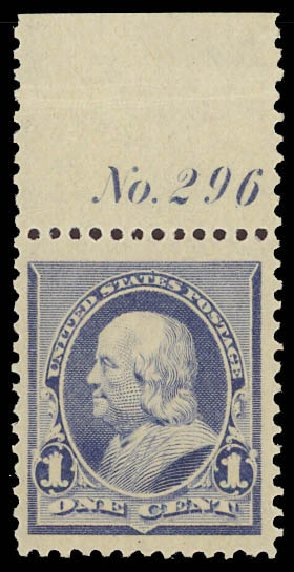 US Stamp Values Scott 219 - 1890 1c Franklin. Daniel Kelleher Auctions, Aug 2012, Sale 631, Lot 882