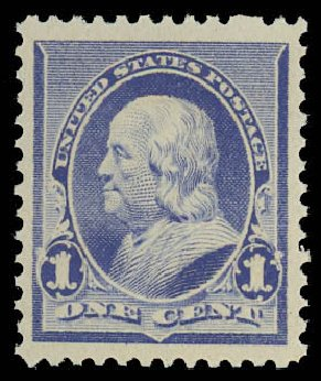 Price of US Stamps Scott Cat. #219 - 1890 1c Franklin. Daniel Kelleher Auctions, Oct 2012, Sale 632, Lot 1102