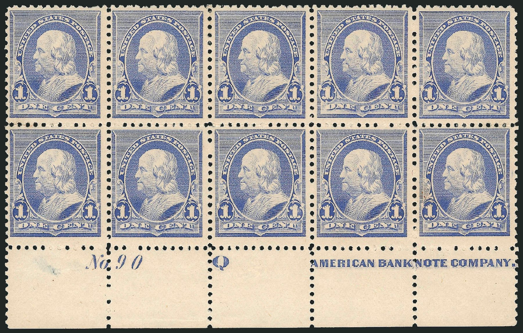 Price of US Stamp Scott Cat. # 219 - 1c 1890 Franklin. Robert Siegel Auction Galleries, Jul 2014, Sale 1077, Lot 163