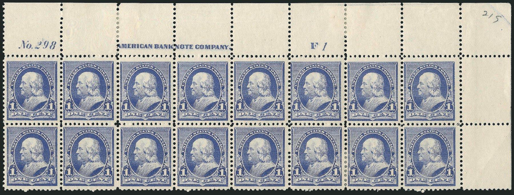 US Stamp Price Scott #219 - 1890 1c Franklin. Robert Siegel Auction Galleries, Nov 2014, Sale 1084, Lot 3496