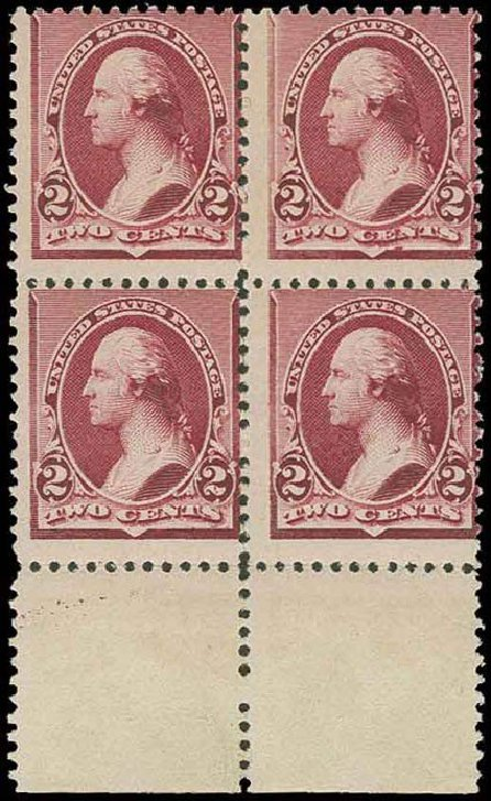 Value of US Stamp Scott Catalog #219D - 2c 1890 Washington. H.R. Harmer, Nov 2013, Sale 3004, Lot 1139