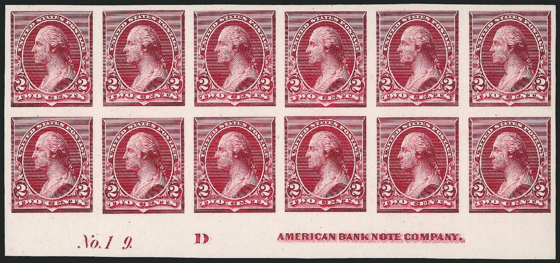 US Stamp Values Scott Catalogue # 219D: 1890 2c Washington. Robert Siegel Auction Galleries, Dec 2012, Sale 1037, Lot 1199
