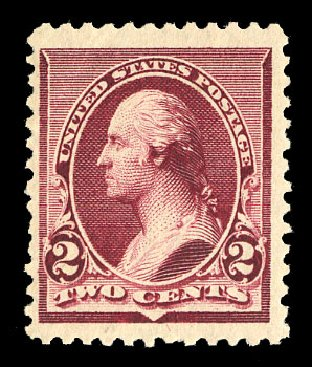 Values of US Stamp Scott Catalogue 219D: 1890 2c Washington. Cherrystone Auctions, Nov 2014, Sale 201411, Lot 43