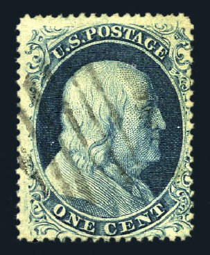 Value of US Stamps Scott Catalog # 22 - 1857 1c Franklin. Harmer-Schau Auction Galleries, Aug 2015, Sale 106, Lot 1330