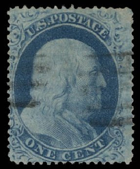 Costs of US Stamps Scott # 22: 1857 1c Franklin. Daniel Kelleher Auctions, May 2015, Sale 669, Lot 2431