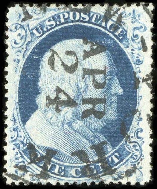 US Stamps Value Scott Catalogue 22: 1857 1c Franklin. Spink Shreves Galleries, Jul 2015, Sale 151, Lot 41
