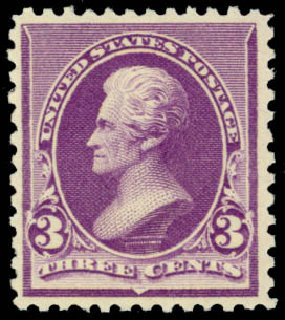 Value of US Stamps Scott Catalog 221 - 3c 1890 Jackson. Daniel Kelleher Auctions, Mar 2014, Sale 648, Lot 2097