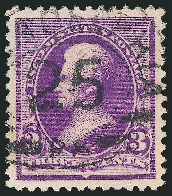 Values of US Stamp Scott Catalogue # 221 - 3c 1890 Jackson. Robert Siegel Auction Galleries, Nov 2012, Sale 1034, Lot 198