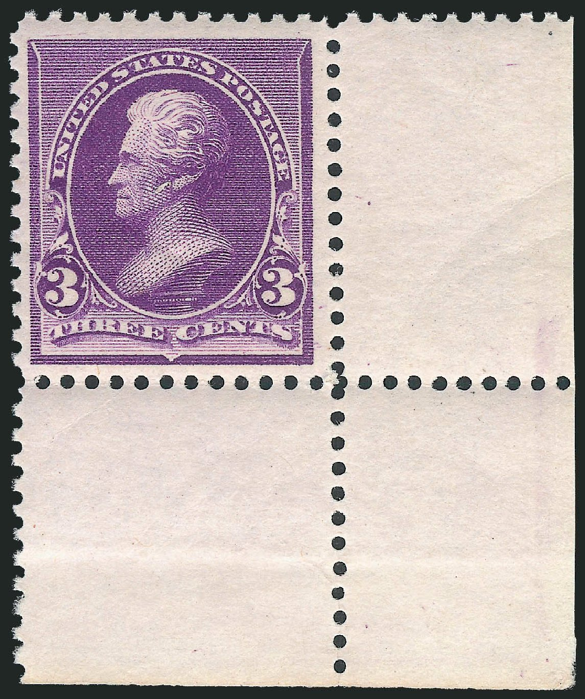 Value of US Stamp Scott Catalogue #221: 1890 3c Jackson. Robert Siegel Auction Galleries, Dec 2011, Sale 1017, Lot 599