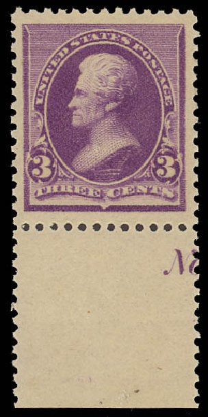 US Stamp Values Scott Cat. #221: 3c 1890 Jackson. Daniel Kelleher Auctions, Jun 2012, Sale 630, Lot 1470