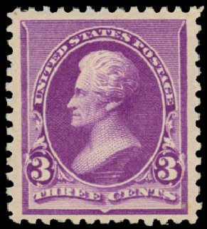 US Stamps Value Scott Cat. # 221: 3c 1890 Jackson. Daniel Kelleher Auctions, Jan 2015, Sale 663, Lot 1440