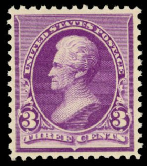 US Stamps Value Scott Catalogue 221: 3c 1890 Jackson. Daniel Kelleher Auctions, Aug 2015, Sale 672, Lot 2464