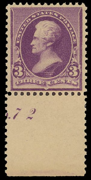 Cost of US Stamp Scott 221 - 1890 3c Jackson. Daniel Kelleher Auctions, Jun 2012, Sale 630, Lot 1473