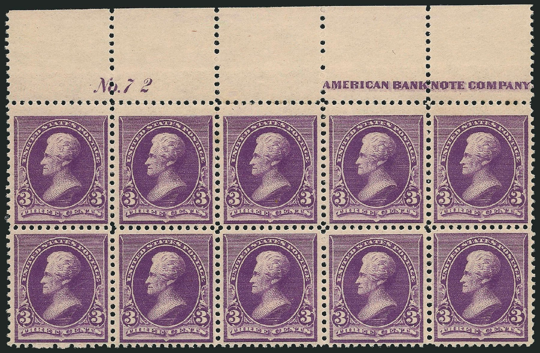 Price of US Stamps Scott Catalogue #221 - 1890 3c Jackson. Robert Siegel Auction Galleries, Nov 2014, Sale 1084, Lot 3503
