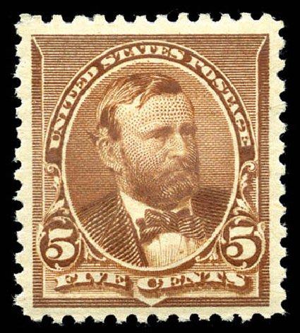 Values of US Stamps Scott Catalog # 223: 5c 1890 Grant. Matthew Bennett International, Mar 2012, Sale 344, Lot 4404