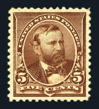 Value of US Stamp Scott Catalogue # 223: 5c 1890 Grant. Harmer-Schau Auction Galleries, Aug 2015, Sale 106, Lot 1614