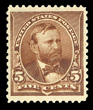 Cost of US Stamp Scott Catalog #223 - 1890 5c Grant. Cherrystone Auctions, Nov 2014, Sale 201411, Lot 45
