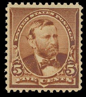 Values of US Stamp Scott Catalogue #223 - 5c 1890 Grant. Daniel Kelleher Auctions, Apr 2012, Sale 629, Lot 225