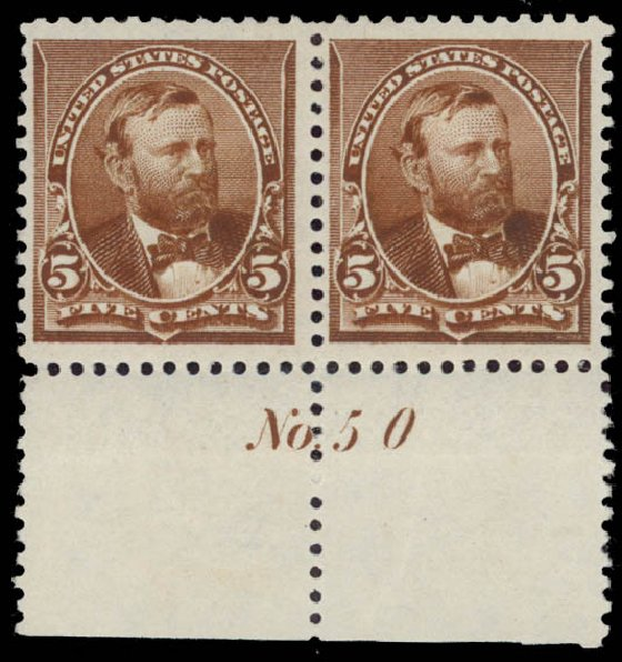 US Stamps Value Scott Catalog 223: 5c 1890 Grant. Daniel Kelleher Auctions, May 2015, Sale 669, Lot 2705