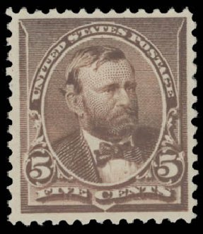 Value of US Stamp Scott Catalog #223: 5c 1890 Grant. Daniel Kelleher Auctions, Aug 2015, Sale 672, Lot 2465