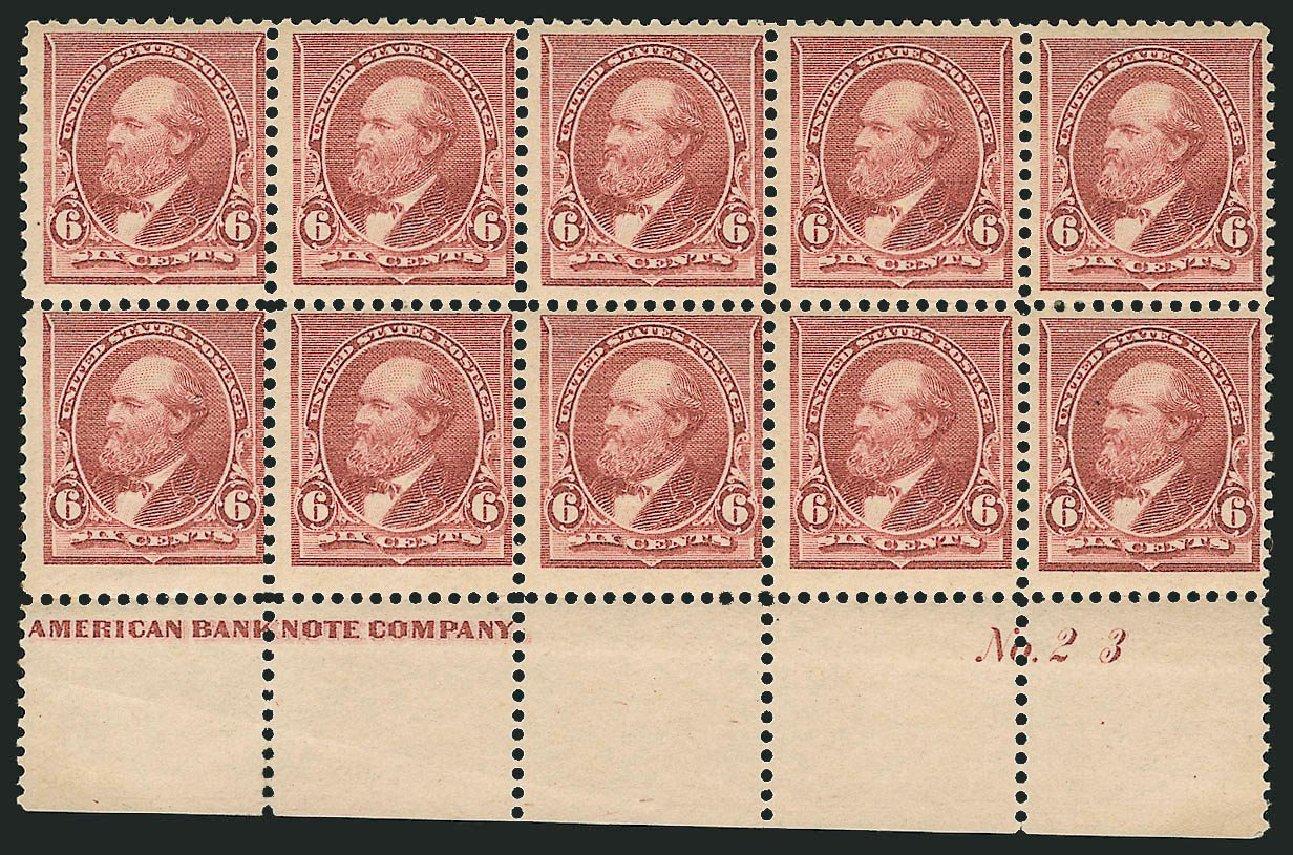 Value of US Stamp Scott Catalog # 224: 1890 6c Garfield. Robert Siegel Auction Galleries, Nov 2014, Sale 1084, Lot 3507