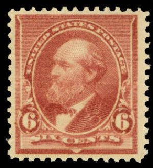 Values of US Stamps Scott Catalog #224 - 1890 6c Garfield. Daniel Kelleher Auctions, Oct 2014, Sale 660, Lot 2199