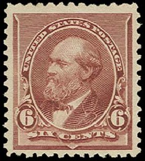 Value of US Stamp Scott Catalog 224: 6c 1890 Garfield. H.R. Harmer, Oct 2014, Sale 3006, Lot 1245