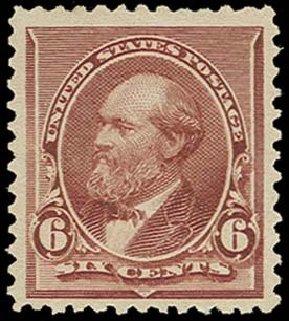 Value of US Stamp Scott Catalog 224: 6c 1890 Garfield. H.R. Harmer, Oct 2014, Sale 3006, Lot 1245