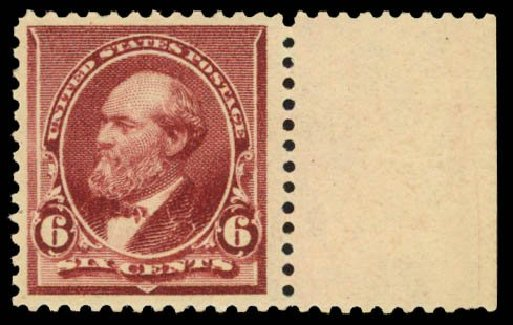 Value of US Stamp Scott #224 - 6c 1890 Garfield. Daniel Kelleher Auctions, Dec 2014, Sale 661, Lot 193