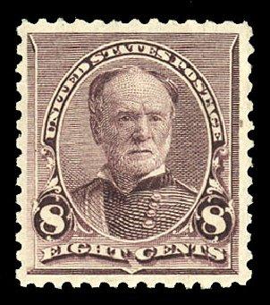 US Stamps Value Scott #225 - 8c 1890 Sherman. Cherrystone Auctions, Nov 2014, Sale 201411, Lot 47