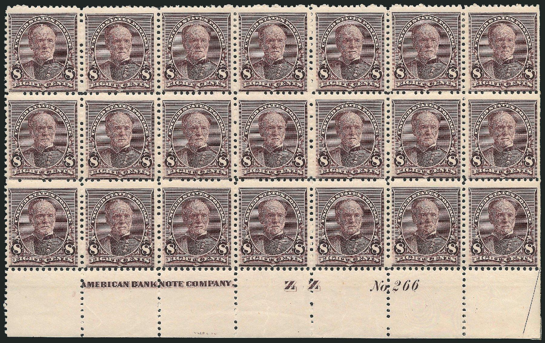 US Stamps Price Scott Cat. 225 - 1890 8c Sherman. Robert Siegel Auction Galleries, Mar 2013, Sale 1040, Lot 1467